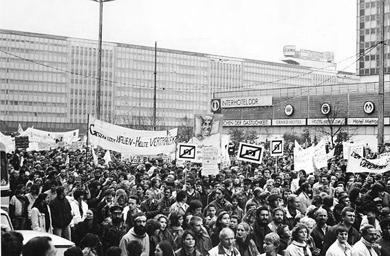 "Kurt Buchwald's ""No Photography"" symbol at the Nov 4 1989 mass demonstration at Alexanderplatz, East Berlin"