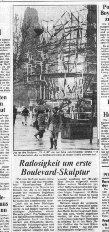 Berliner Morgenpost, first response to Olaf Metzel's sculpture, 13.04.1981, on Joachimstaler Platz