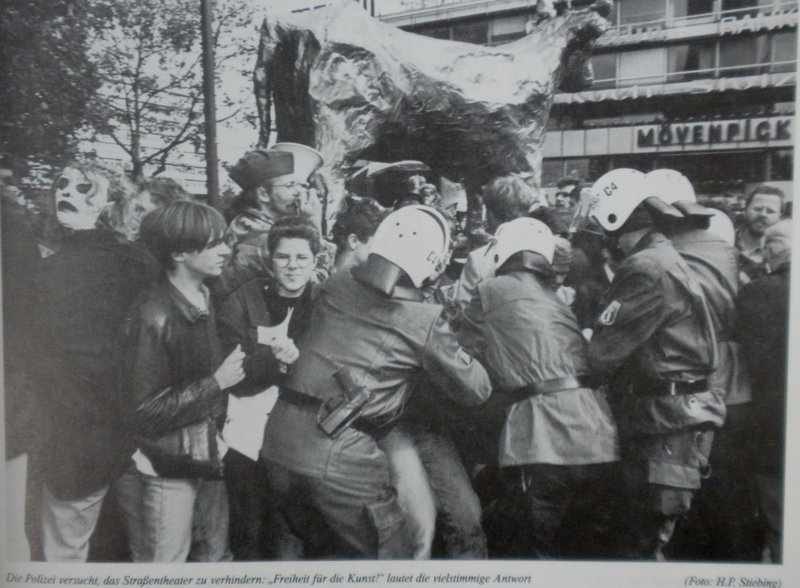 Demonstrators hoist the Golden Calf during IMF-WB protests, Breitscheid Platz, September 1988.