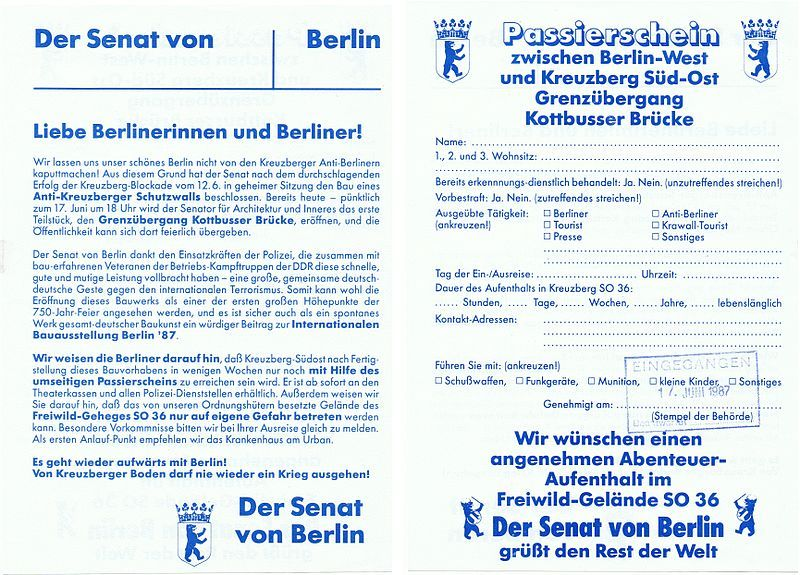 Phony pass to travel between West Berlin and Kreuzberg created as part of the Anti-Kreuzberger Protective Wall action on June 17, 1987.
